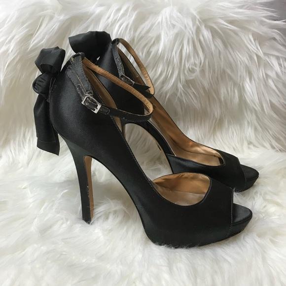 84afabb089 Badgley Mischka Shoes - Badgley Mischka Black Satin Bow Peep Toe Pumps